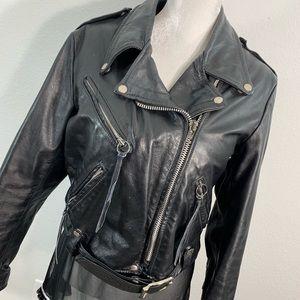 Brooks leather riding moto jacket